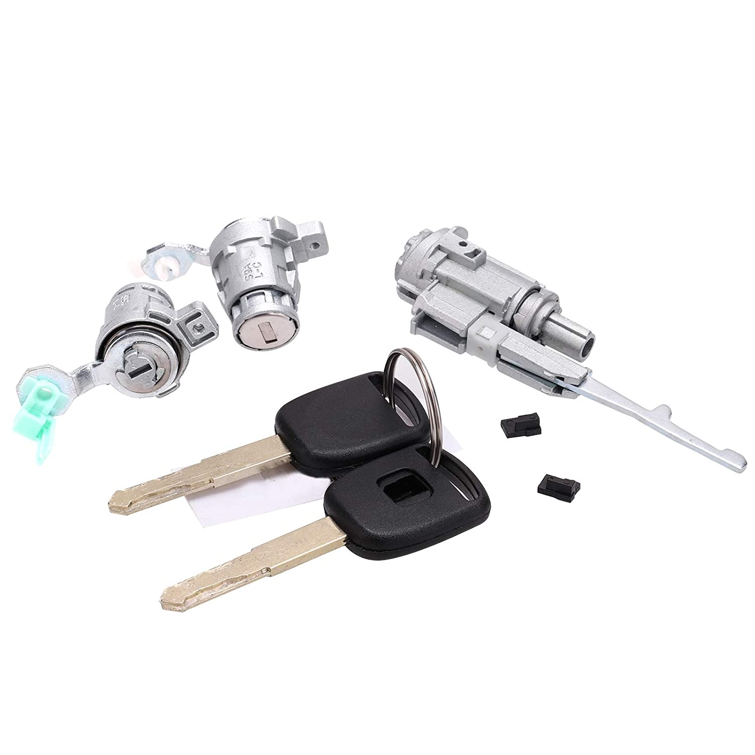 Ignition Switch /& 2 Door Lock Cylinder W// 2 Keys with Chip Fit For Honda 2003-2005 Civic 2002-2006 CR-V 2003-2011 Element 2004 2005 S2000