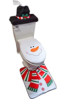 D FantiX 3 Piece Snowman Santa Toilet Seat Cover And Rug Set Red Christmas