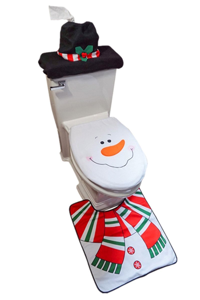 D-FantiX 3-Piece Snowman Santa Toilet Seat Cover and Rug Set Red Christmas Decorations Bathroom by D-FantiX