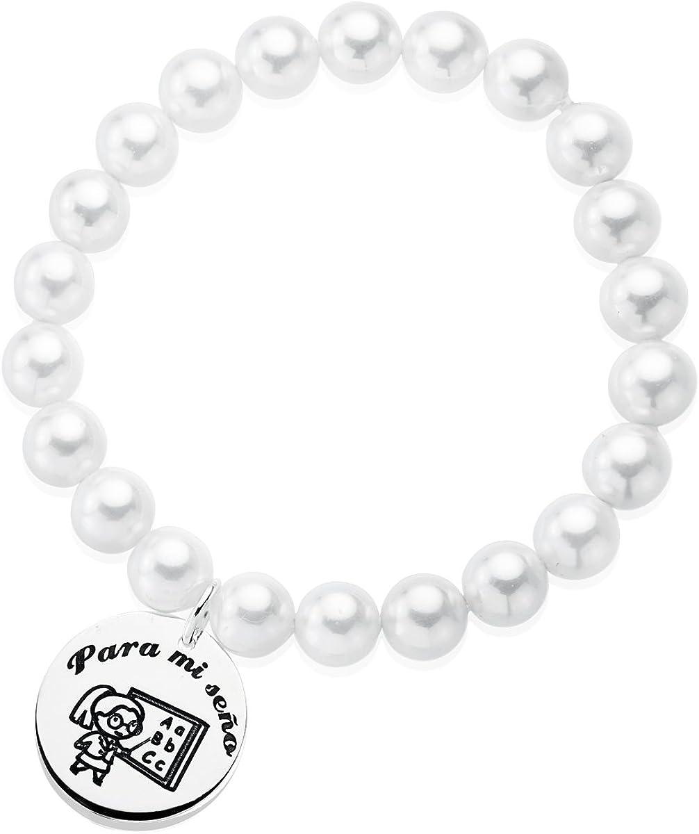 Iyé Biyé Jewels - Pulsera Mujer elástica Plata de Ley 925 Perlas 7 mm y Chapa 21 mm para MI SEÑO