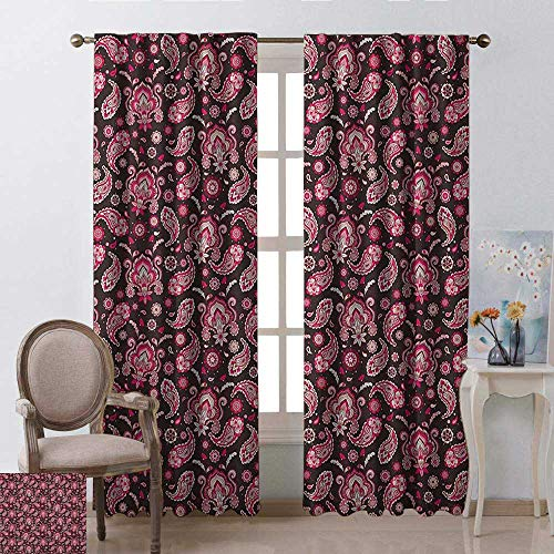 Pink Brown Paisley - youpinnong Ethnic, Curtains Bathroom Window, Vintage Traditional Paisley Pattern with Oriental Eastern Bohemian Print, Curtains for Girls Bedroom, W72 x L108 Inch, Dark Brown Pale Pink