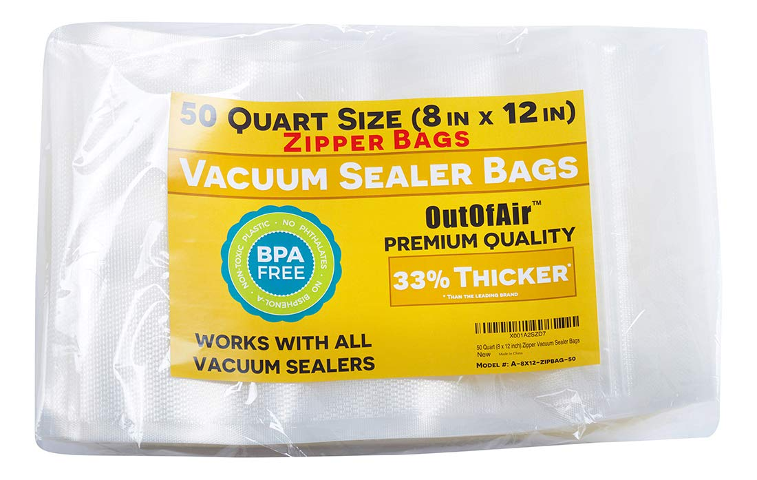 50 Zipper Vacuum Sealer Bags: Quart Size (8'' x 12'') - OutOfAir Vacuum Sealer Zip Bags for Foodsaver, Weston, Other Savers. 33% Thicker BPA Free FDA Approved Commercial Grade Great for Snacks