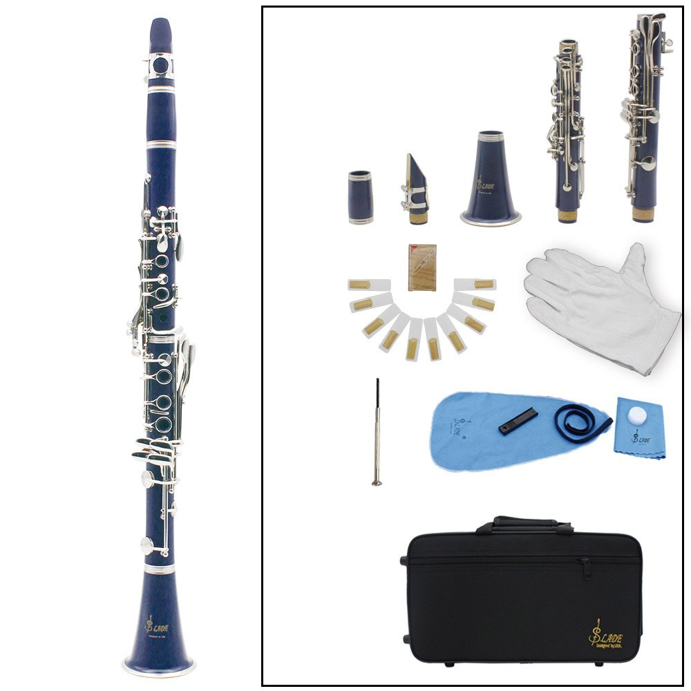 Andoer 木管楽器 セット ソプラノ クラリネット 8色選択 17キー Bフラット ABS 10リード マウスピース/コルクグリース/手袋/リードケース/ドライバーなど付き 初心者/音楽愛好者対応 B0199G7GO8 紺色 紺色