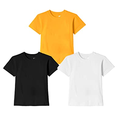 051213c9f7fe Kids Boys Wild Thunder T Shirt - Half Sleeve Round Neck Plain 100% Cotton  for Kids Boys Combo pack T Shirts - Black, White and Golden yellow Color  Half Hand ...