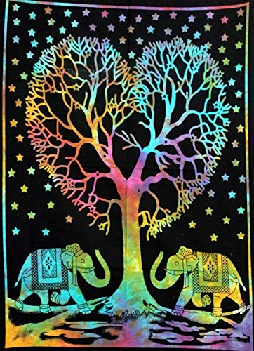 Heart Tree Multi tie die Cotton Indian Wall Hanging Tapestry Poster Size Black Decor Throw 42