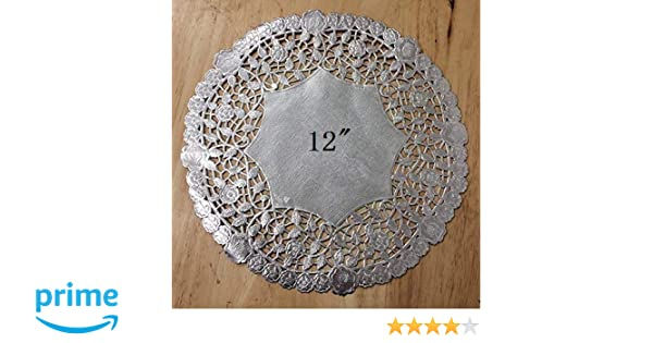 PEPPERLONELY 12 Inch Silver Round Lancaster Paper Doilies 50 Count