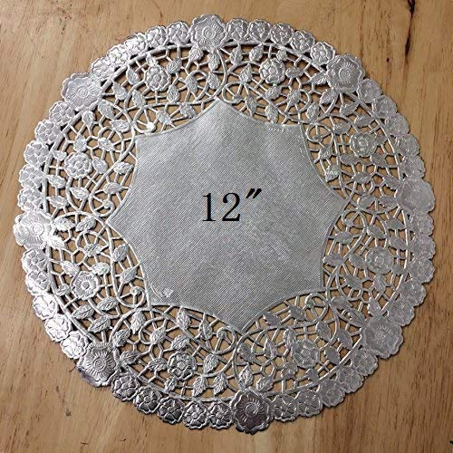 PEPPERLONELY 12 Inch Silver Round Lancaster Paper Doilies 50 -