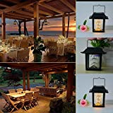H+K+L Classic Solar LED Light Outdoor Hanging Smokeless Lantern Gypsophila Lamp Warm - Perfect for Garden, Yard, Wall, Camping,Home, Bar, Indoor and Outdoor Lighting Decoration (Black)