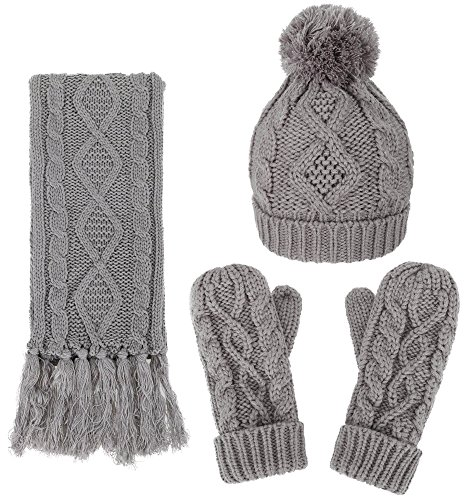 ANDORRA Women Soft Warm Thick Knitted Beanie Scarf & Gloves Winter ()