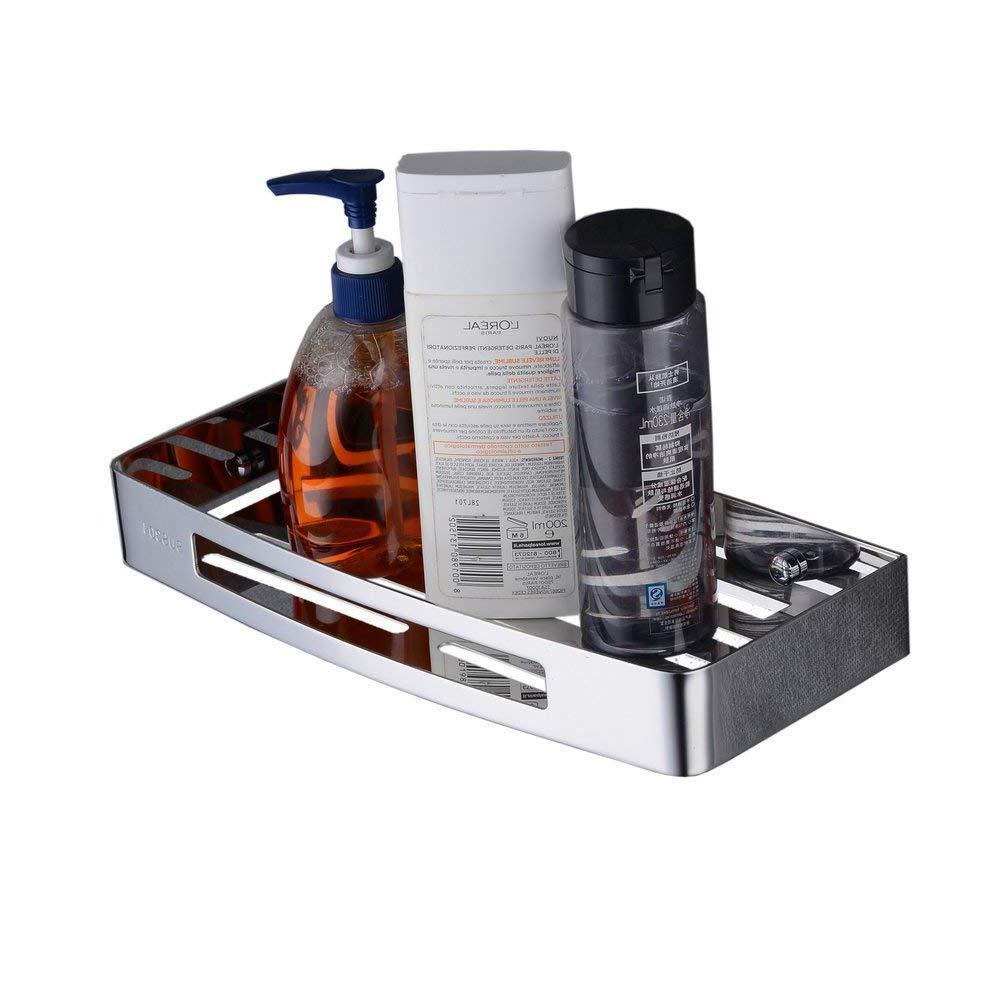 Beelee BA9287MC - Estante de ducha adhesivo (acero inoxidable SUS304, bandeja rectangular, pegamento patentado, adhesivo 3M) Bela