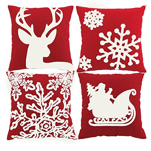 BLEUM CADE Pillow Cover Throw Pillow Case 18x18 Christmas Pillow Cover Holiday Decoration Set of 4 Pillow Cases Home Car Decorative