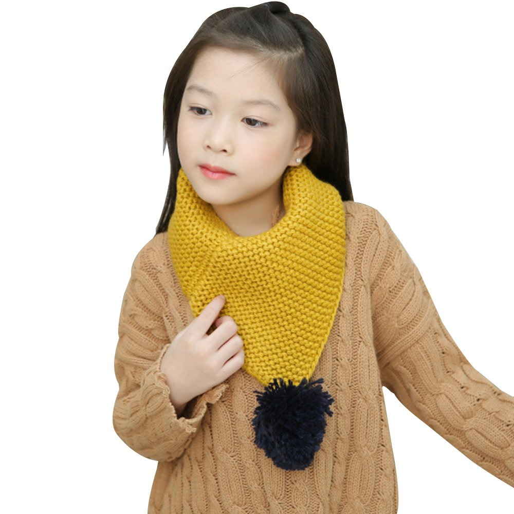 Kids Winter Warm Knit Scarves Wraps Fashion Solid Color Scarf Boys Girls with Poms