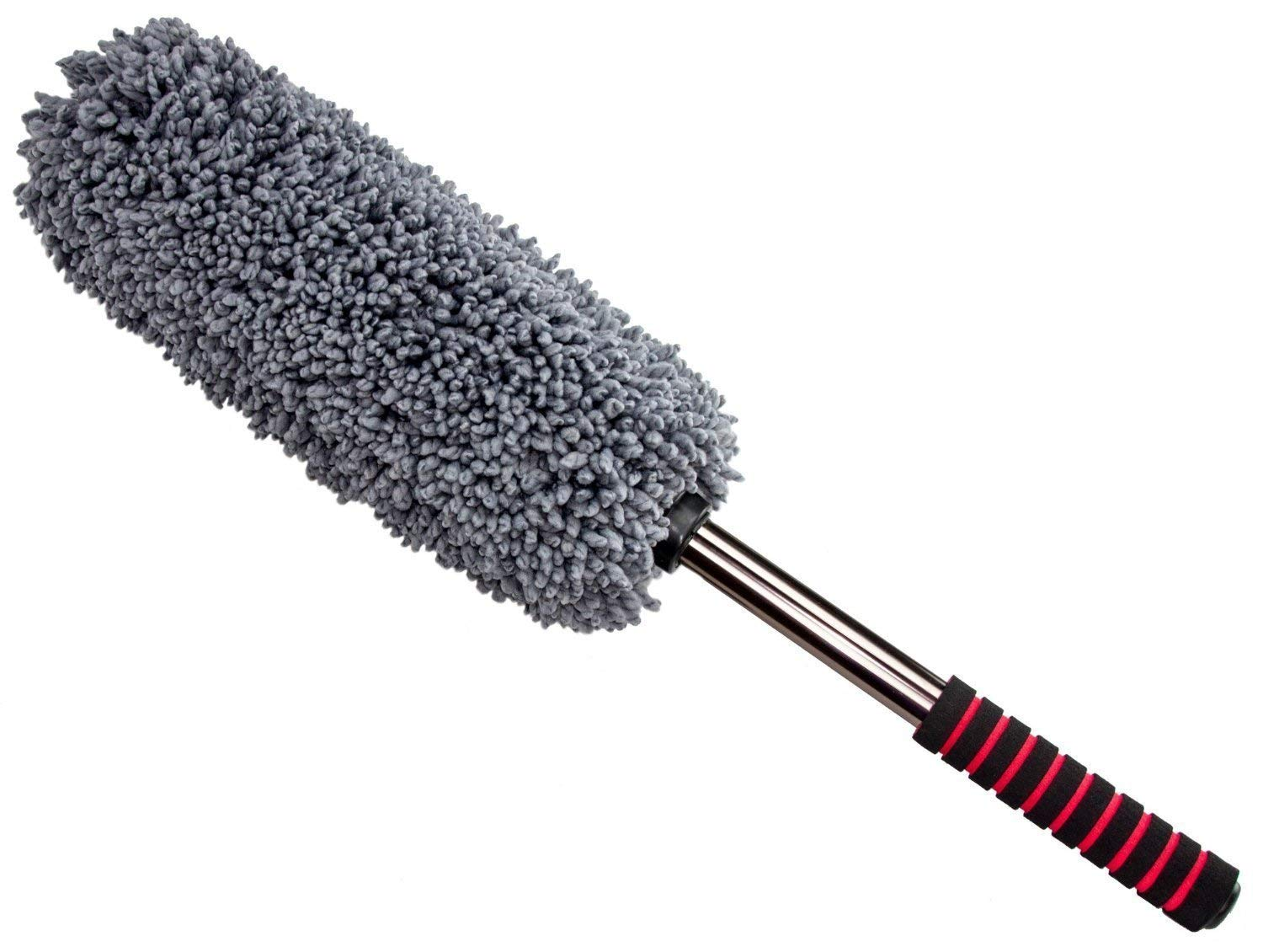 Favson Microfiber Car Duster, Extendable Long Duster for Pollen Removing, Exterior or Interior Use, Lint Free, Unbreakable Handle Design Long Duster
