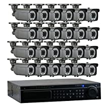 GW Security 32-Channel HD-TVI 1080P Complete Security System with (24) x True HD 1080P Outdoor / Indoor 2.8-12mm Varifocal Zoom Bullet Security Cameras and 8TB HDD, QR Code Scan Free Remote View