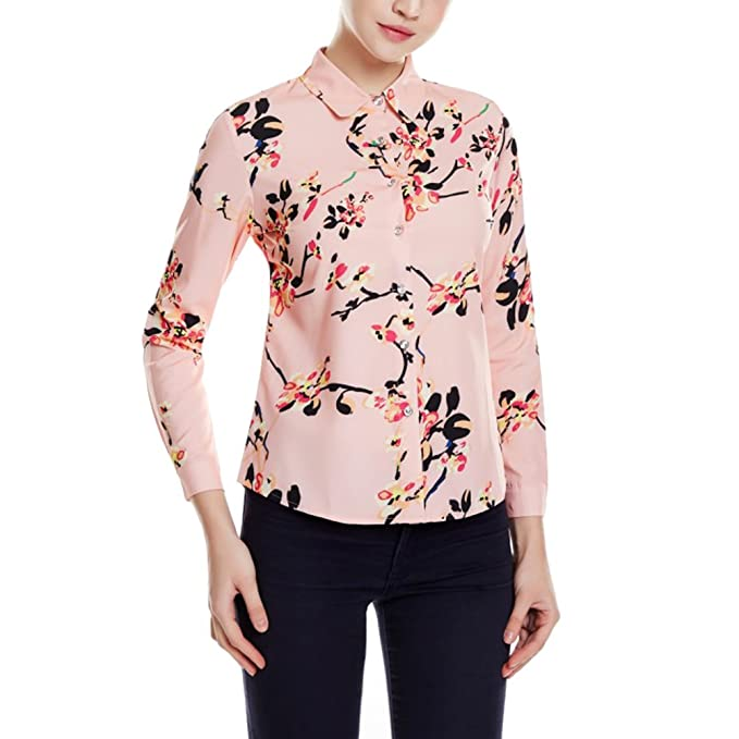 Zhuhaitf Tela Suave Moda Floral Impresión Tops Camiseta Blusa Uso Diario Oficina Camisas de Trabajo Manga