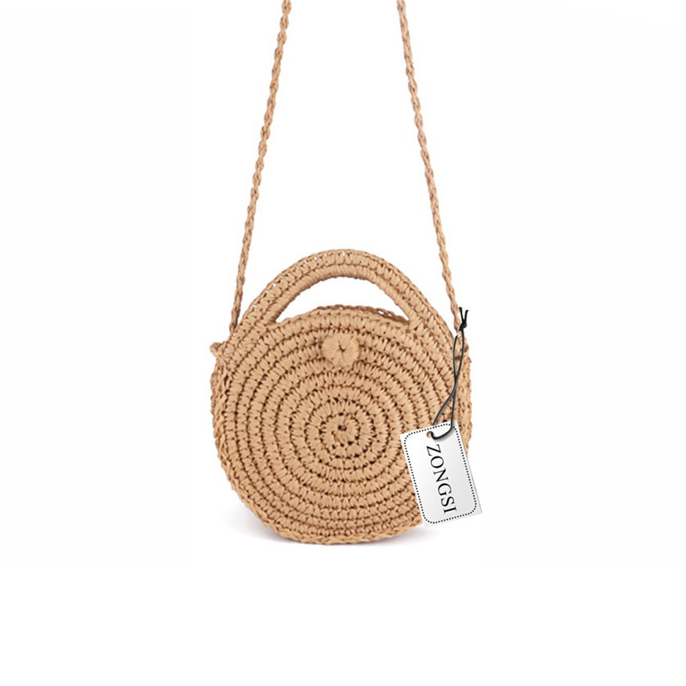 Zongsi Mini Handmade Round Straw Beach Bag Shoulder bag for women (Khaki)