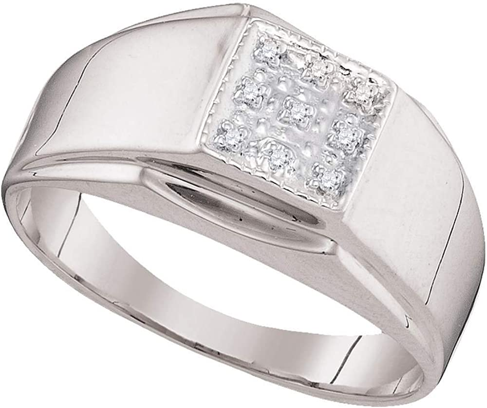 I2-I3 clarity; I-J color Jewels By Lux Sterling Silver Mens Round Diamond Square Cluster Ring .03 Cttw = 0.03 Ring Size 10.5