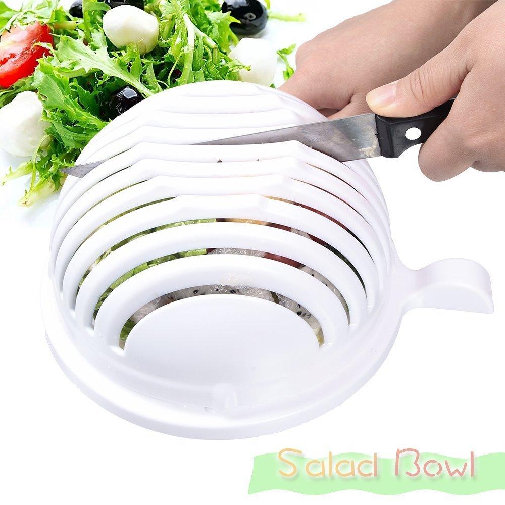 Salad Cutter Bowl, Aoonar 60 Seconds Salad Maker, Food Grade ABS Vegetable Cutter, Salad Chopper/ Salad Slicer (White)