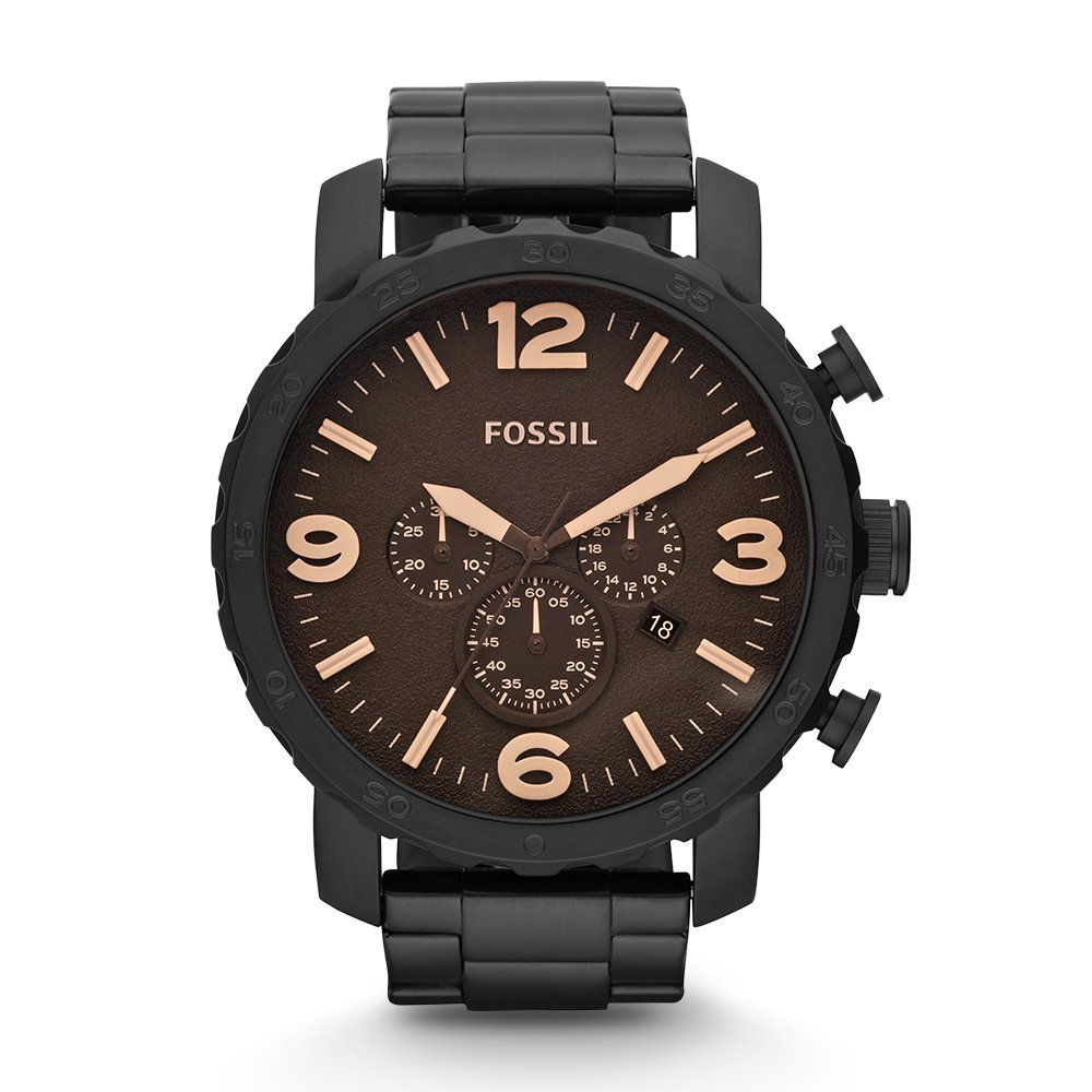Fossil JR1356 Nate Stainless Steel Watch Black by Fossil