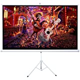 Cloud Mountain HD 100'' 16:9 Tripod Stand Projector Screen Home Office Multi Aspect Ratio Projection Screen Portable Pull Up, Matte White 1.3 Gain