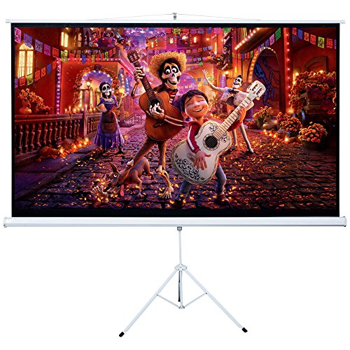 Cloud Mountain HD 100'' 16:9 Tripod Stand Projector Screen Home Office Multi Aspect Ratio Projection Screen Portable Pull Up, Matte White 1.3 Gain by Cloud Mountain