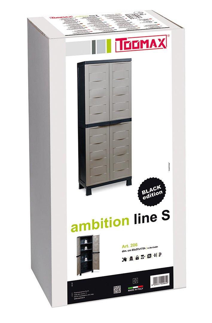 Taupe Z206R050 Toomax ART206BK Armoire Haut 2 Portes 3 Etagères Ambition Line S Black Edition