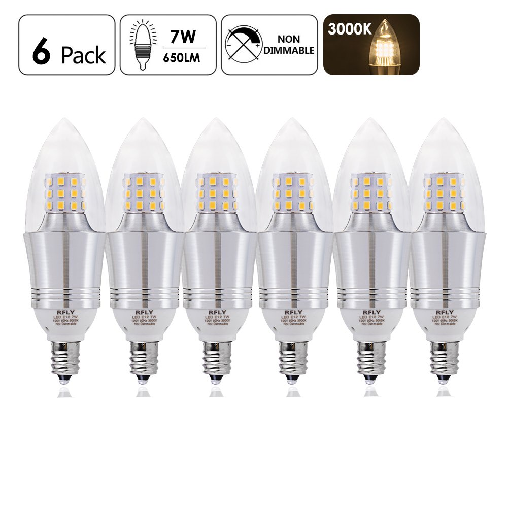 RFLY 7W E12 Bulb, LED Candelabra Light Bulbs 60-75W incandescent Equivalent, Decorate Candle Base E12 Non-Dimmable, Chandelier Bulb, Warm Light 3000K, 6 Packs