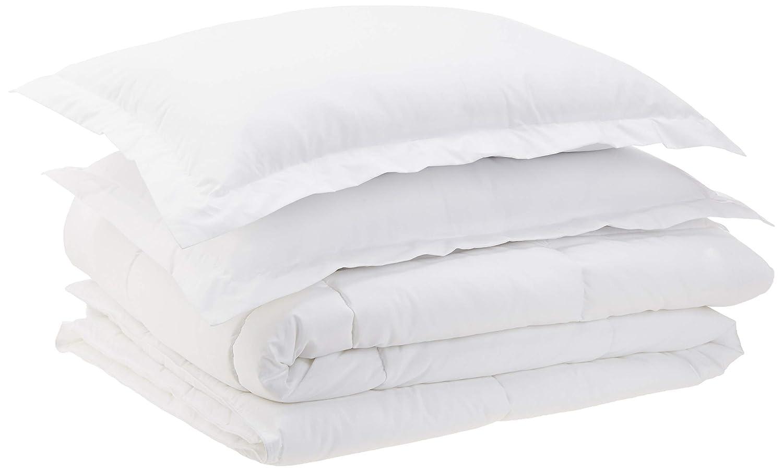AmazonBasics Down-Alternative Comforter Set with Shams - White, Full/Queen