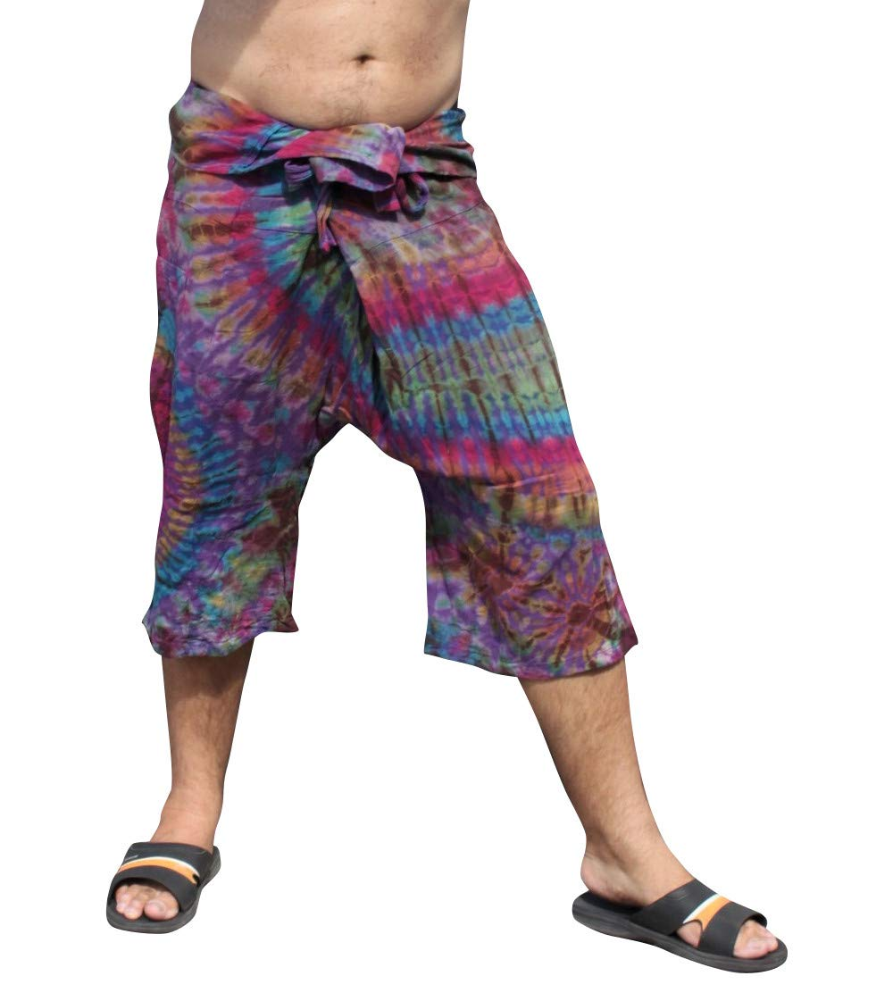 Full Funk Cotton Tie Dyed Natural Colorful Thai Fisherman Wrap 3/4 Leg Pants, Small, Dark Violet by Full Funk