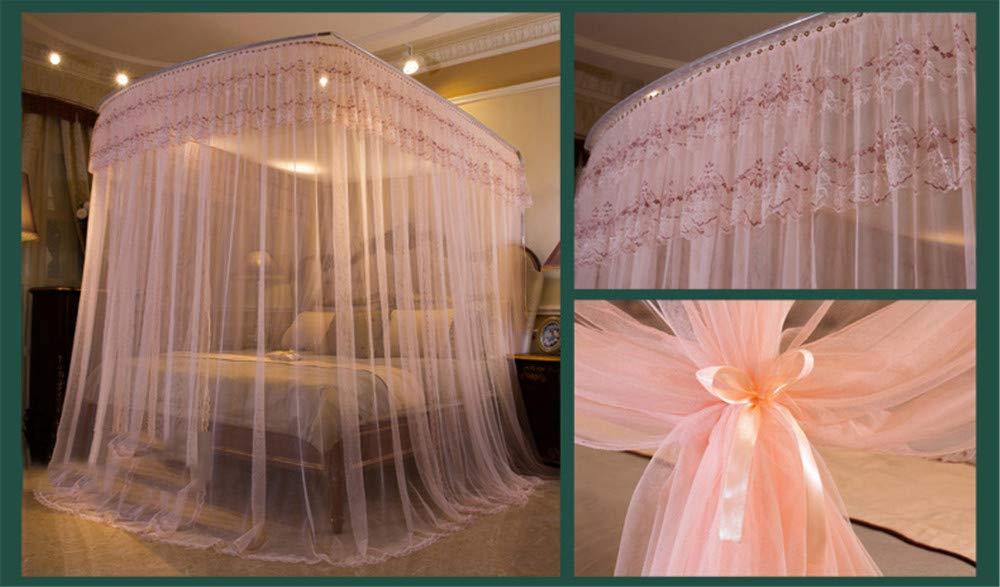 U-Type Retractable Bracket Mosquito net Double Bed Mosquito net Princess Mosquito net Three Door Thick Yarn Thickening Mosquito net Luxury Mosquito net, Pink, L (87-210Adjustment) W150cm by RFVBNM Mosquito net (Image #5)