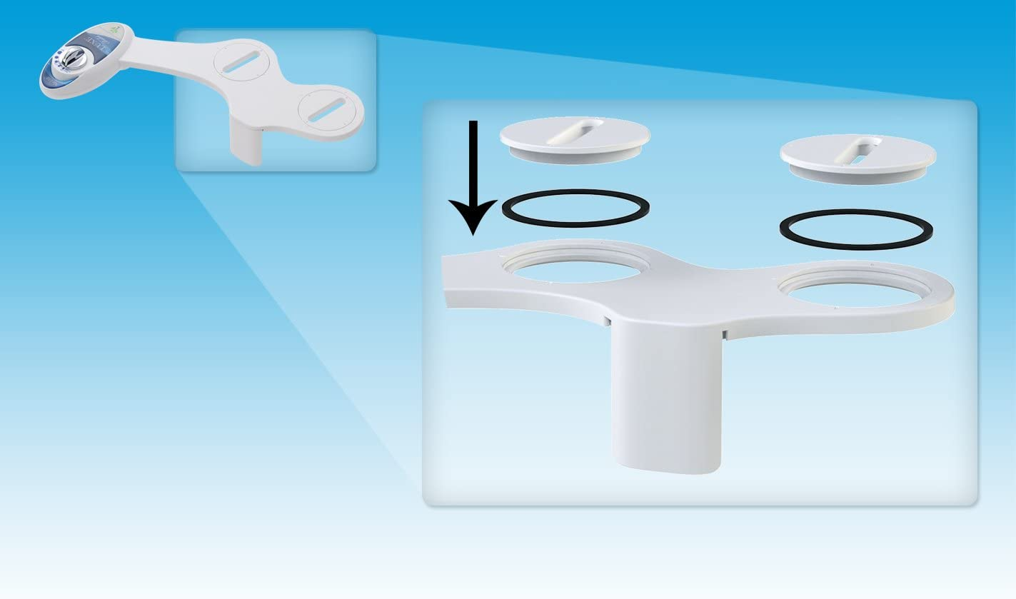 Fresh Water Non-Electric Mechanical Bidet Toilet Attachment w// Strong Faucet Valves and Metal Hoses - Self Cleaning Dual Nozzle Luxe Bidet Neo 185 Elite Series
