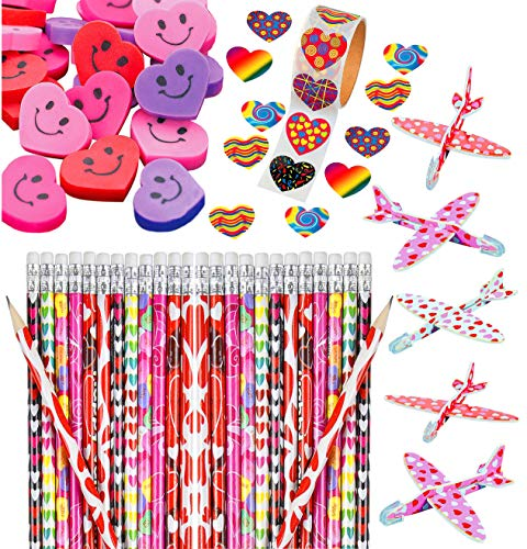 Valentine's Day Heart Party Favor Set Bulk, 36 Assorted Pencils, 36 Colorful Smiley Erasers, Valentine Funky Heart Roll of 100 Stickers, 36 Foam Mini Gliders, Fun Supplies and Prizes for Kids, By 4E's Novelty