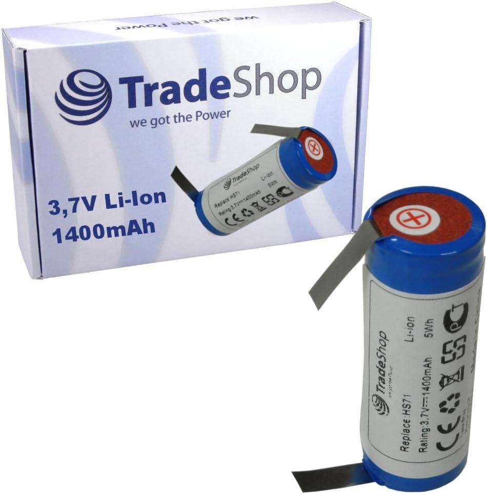 Trade-Shop Premium Li-Ion Akku 3,6V//3,7V 1400mAh 18500-Zelle 52mm x 18,5mm mit U-L/ötfahnen 5mm