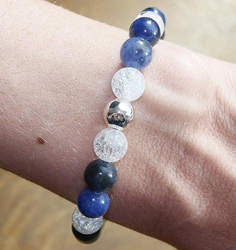 BRACELET EN SODALITE perles de 8 MM 16 CM PIERRES NATURELLES LITHOTHÉRAPIE