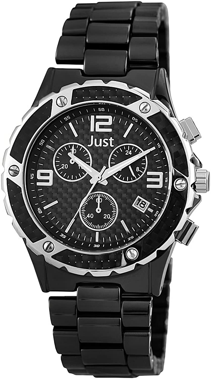 Just Watches Herren-Armbanduhr XL Chronograph Quarz Keramik 48-S0006-BK