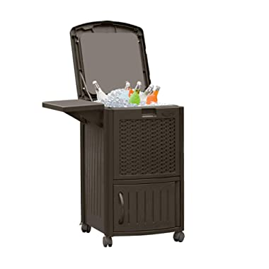 Suncast Resin Wicker Outdoor Cooler with Wheels - Portable Outdoor Bar Cart to Store Ice, Drinks, and Frozen Treats - Store on Deck or Patio - Java