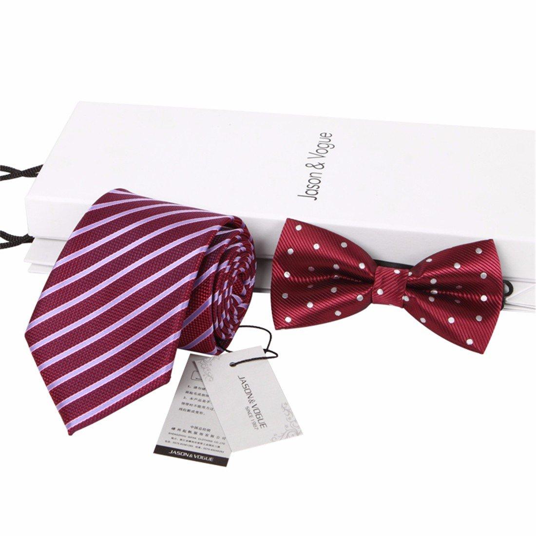 HXCMAN 8cm borgoña vino rojo rayas Lunares corbata Conjuntos ...