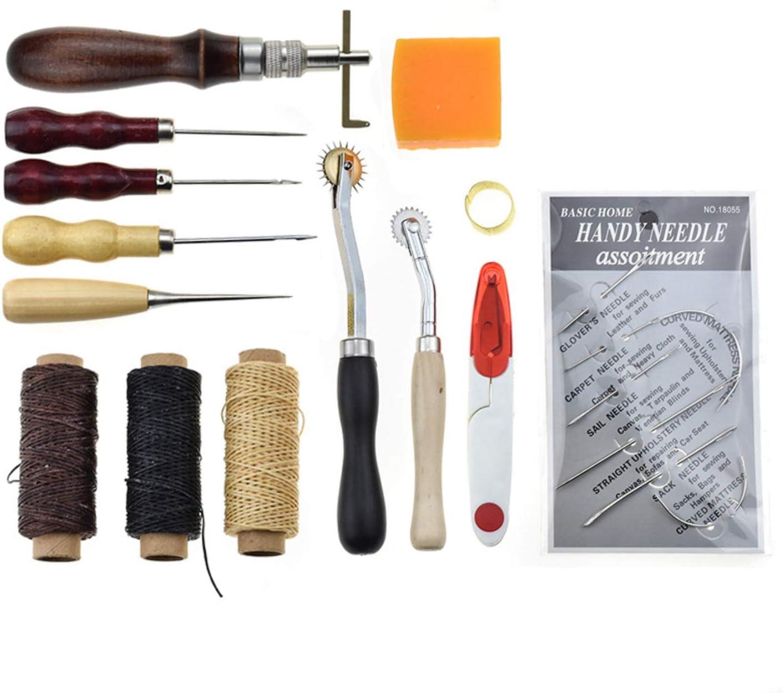 Marquer Coudre Kit de Gravure sur Cuir Leather Craft Tools pour Piquer 48 Pi/èces Outils de Maroquinerie Main Couture Cuir Bricolage d/'Artisanat RoseFlower Cuir Outil de Bricolage Kit Travailler
