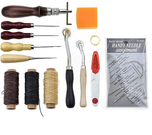 JasCherry 14 Piezas Kits de Herramientas para Coser Cuero a Mano de Costura - Practico DIY Set de Coser de Artesanía Cuero #6: Amazon.es: Hogar