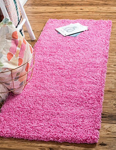 Unique Loom Solo Solid Shag Collection Modern Plush Taffy Pink Runner (2' x 6')
