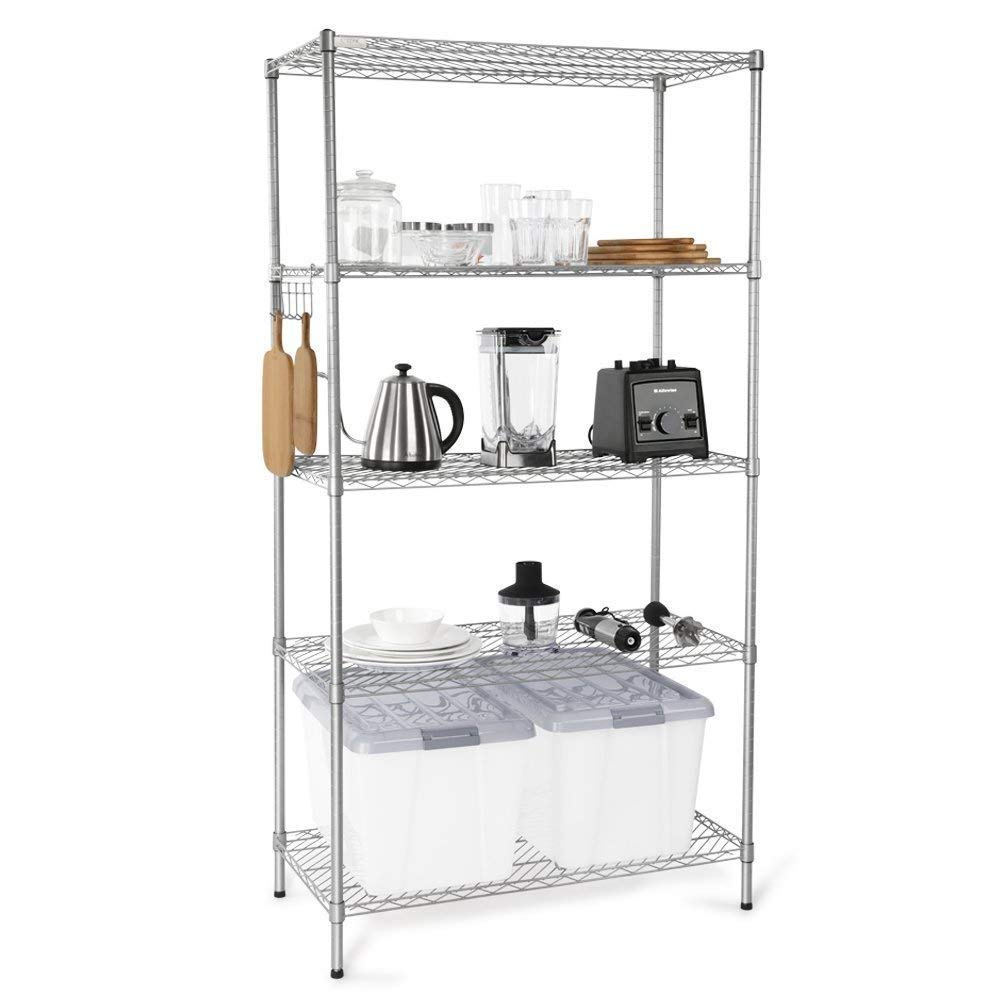ZHILIAN& 4-Layer Large Capacity Storage Rack Simple Modern Silver Carbon Steel Home Multi-Function Floor Storage Rack
