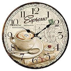 XSHION Wooden Wall Clock, 13 Inch Wall Clocks Decorative Living Room Art European Antique Style (Coffee-3)