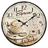 Cheap XSHION Wooden Wall Clock, 13 Inch Wall Clocks Decorative Living Room Art European Antique Style (Coffee-3)
