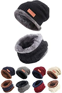 2168414bd52 STYLE SLICE Fleece Lined Hat and Scarf Sets Mens Womens Unisex Knitted -  Beanie Circle…