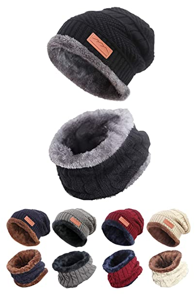 037bbf7b578 STYLE SLICE Fleece Lined Hat and Scarf Sets Mens Womens Unisex Knitted -  Beanie Circle Loop Infinity Scarfs Neck Warmer ...