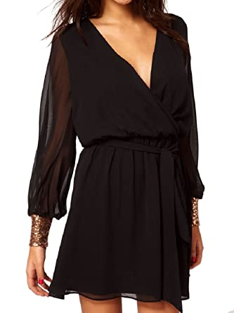 2c95face6d8 Black Chiffon Wrap Mini / Tunic Dress Top With Gold Sequin Cuff:  Amazon.co.uk: Clothing