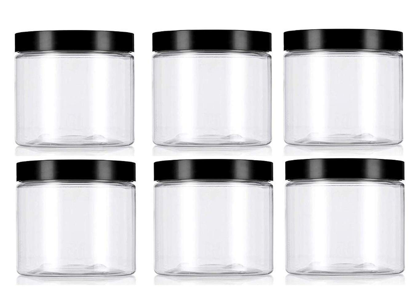 Clear 8Oz / 250g PET Plastic Refillable Jars Empty Cosmetic Containers Cases with Black Lid Cream Lotion Box Ointments Bottle Food Bottle Makeup Pot Jar (6 Pack)