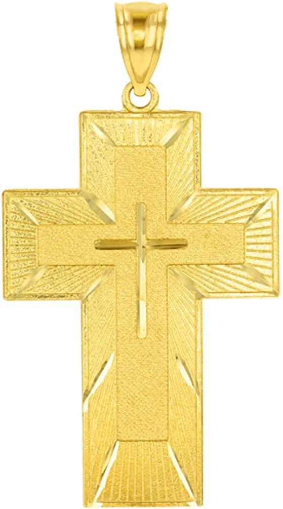 14k Yellow Gold The Lords Prayer Our Father Religious Cross Pendant Necklace