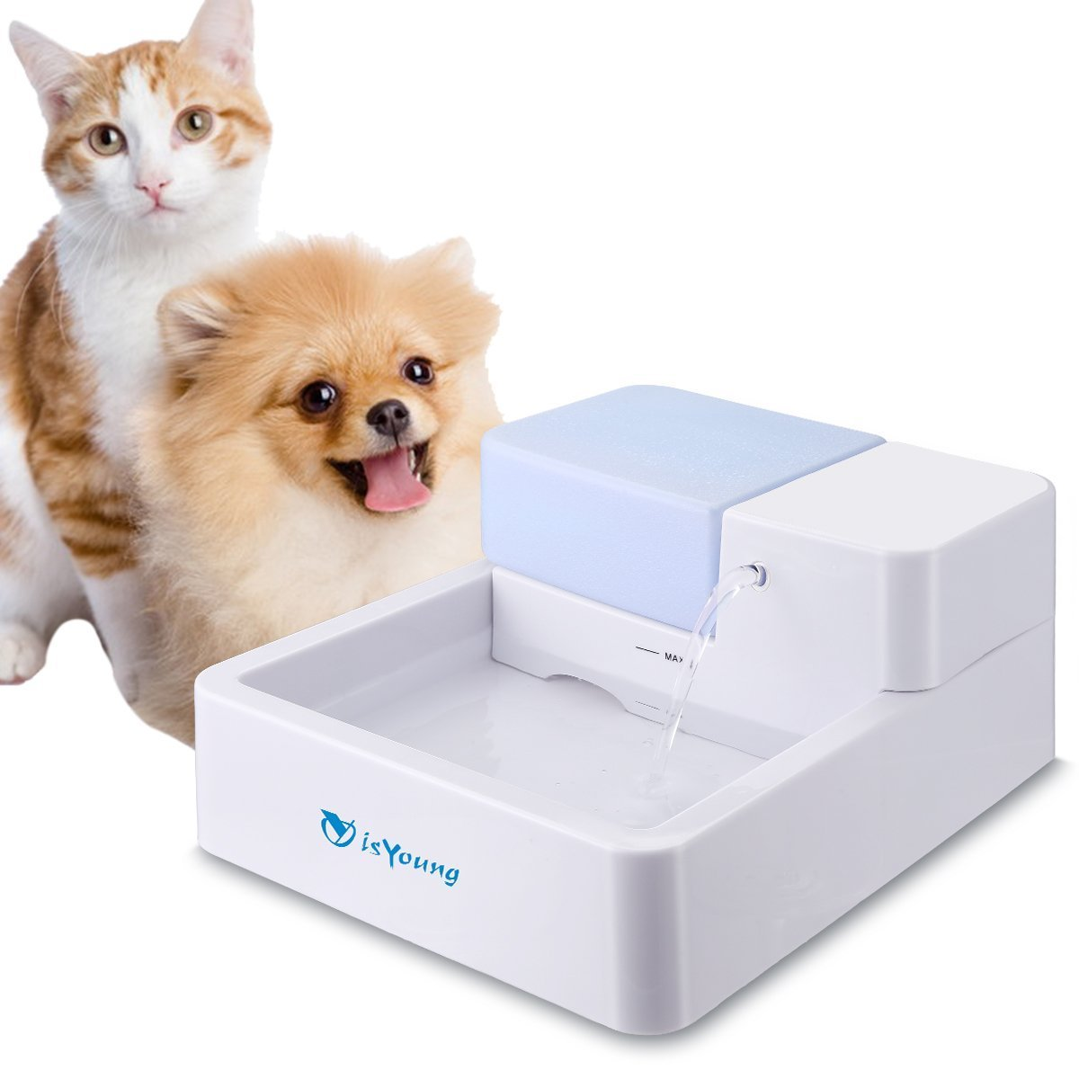 isYoung 24 * 7 Ultra Quiet Drinking Pet Fountain for Cats and Dogs 1.8L Water Capacity with Activated Carbon Filter and LED Lighting