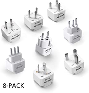 BESTEK Worldwide Travel Plug Adapter Set, Grounded Universal Power Plug Adapter for USA to US, EU, AU, UK, GE, HK and More- 8 Packs